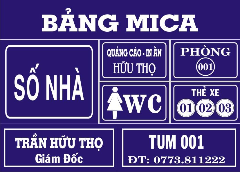 bảng tên phòng ban mica